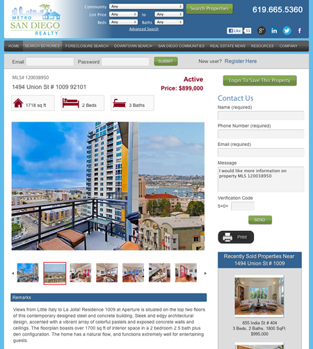 San Diego Realtor Website Design