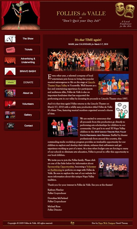 Follies Du Valle Theater Performance Website Design