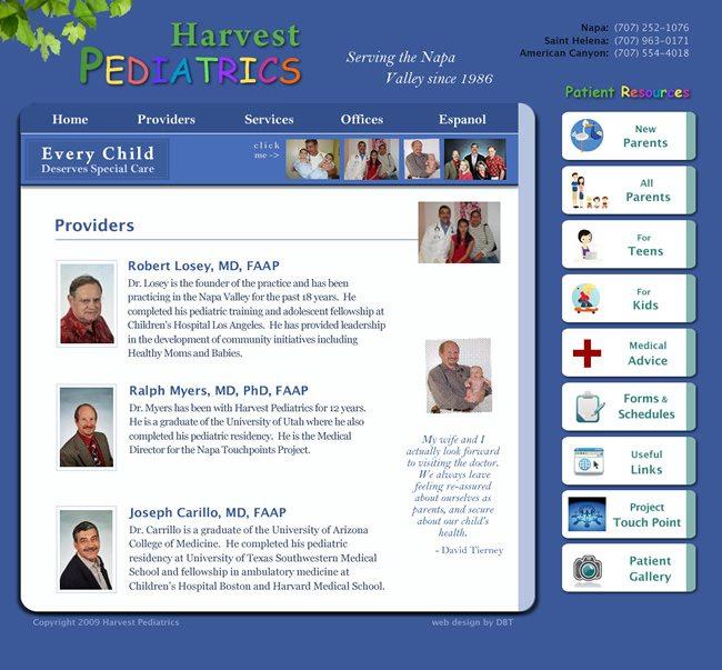 Harvest Pediatrics Website Design