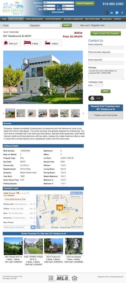 Metro San Diego Realty Website Design