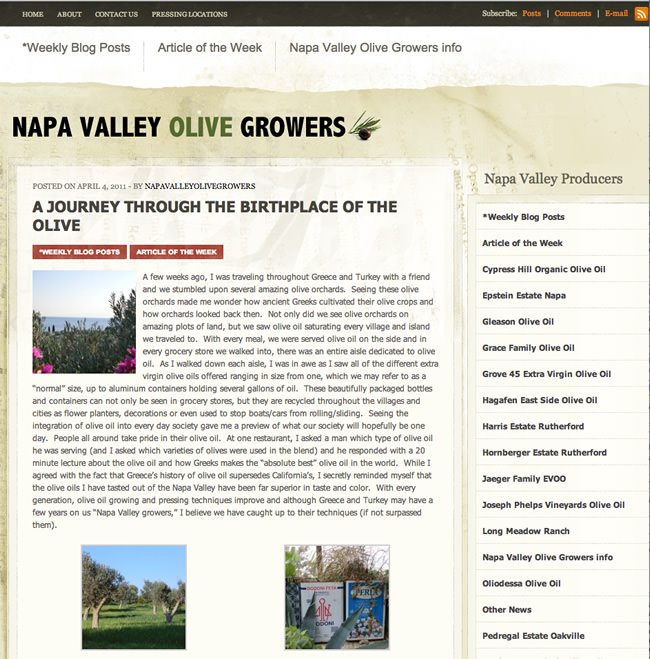Napa Valley Olive Growers Website
