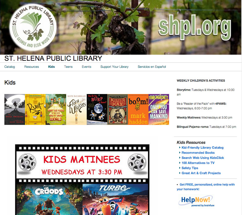 St Helena Library Website