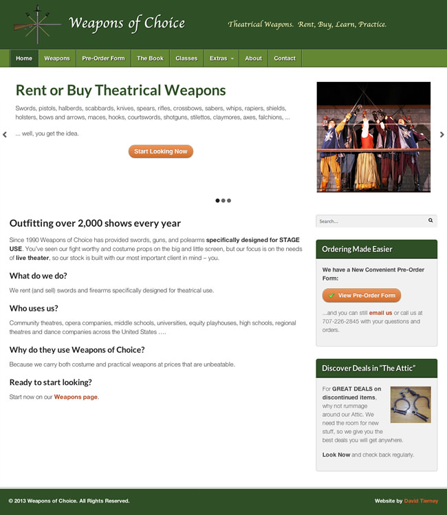 Weapons of Choice Website Design
