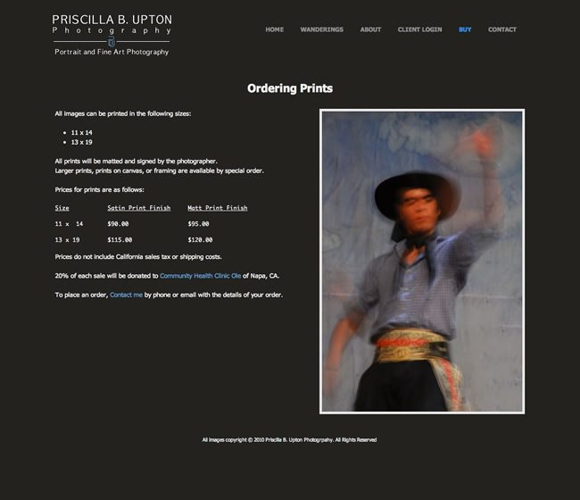 Priscilla B. Upton Photography Website Design