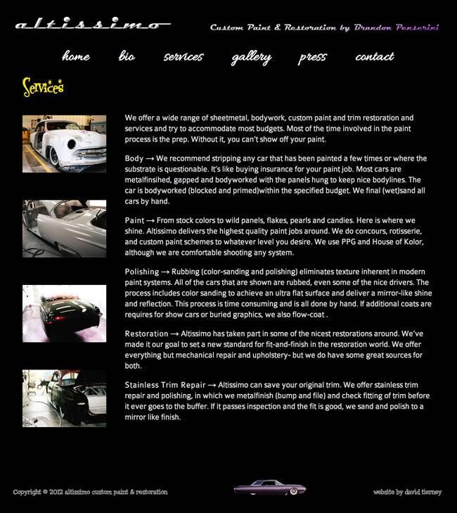 Altissimo Restoration Website Design