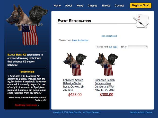 Battle Born K9 Website Design