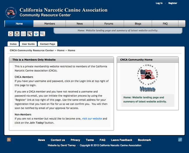 California Narcotic Canine Association Website Design