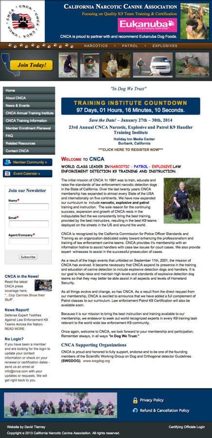 California Narcotic Canine Association Website Design