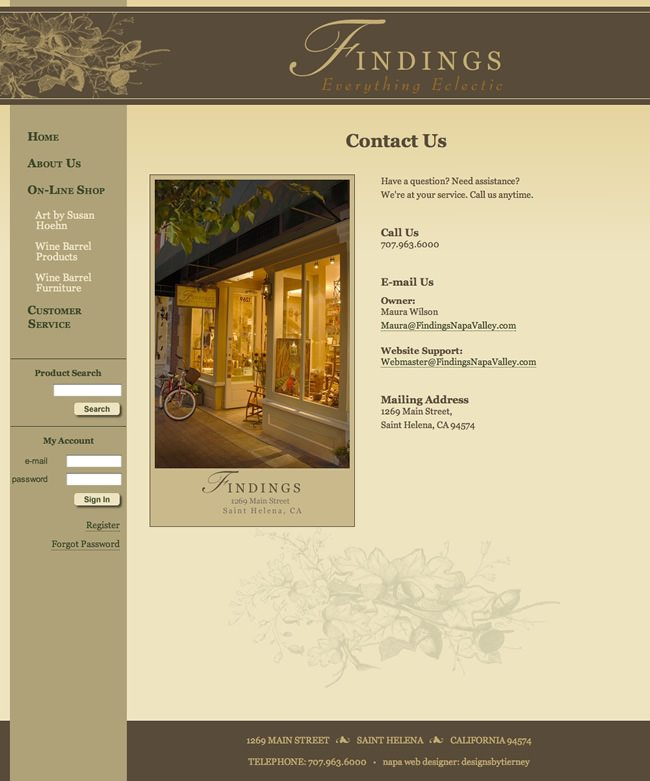 Findings Napa Valley Website Design