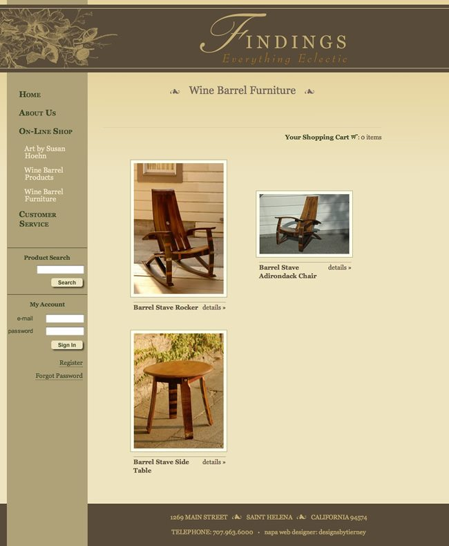 Findings Napa Valley Website Design