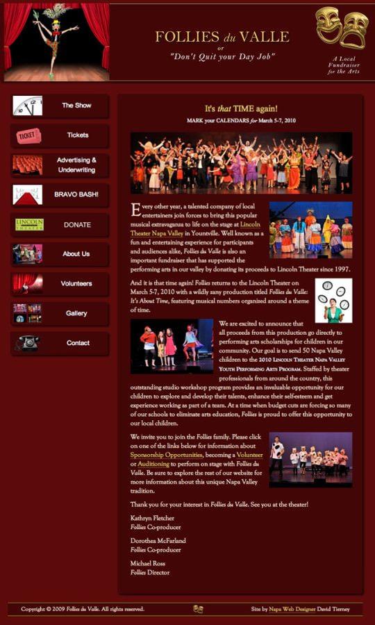 Follies Du Valle Theater Performance Website Design