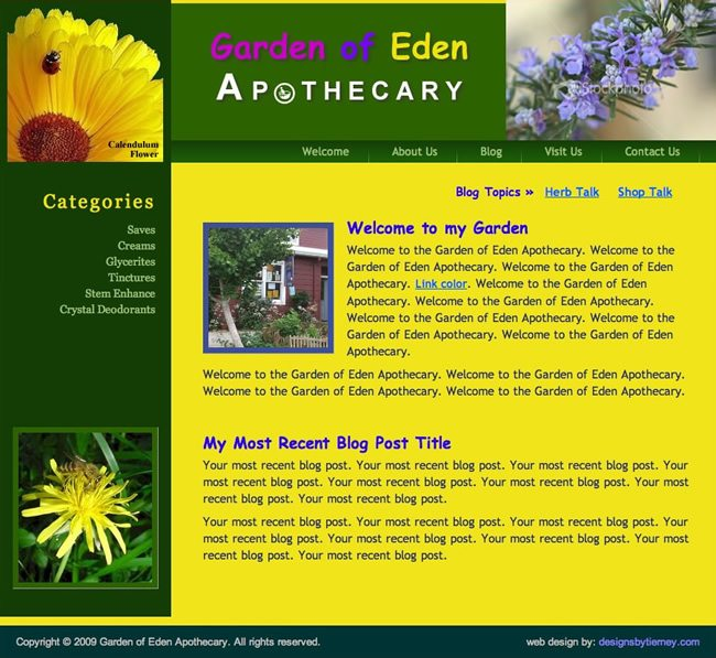 Garden of Eden Apothecary Website Design