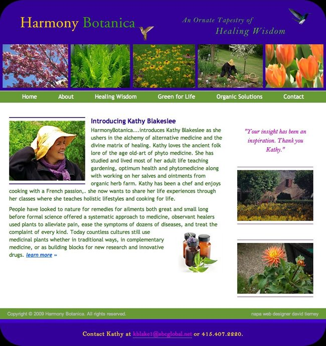 Harmony Botanica Website Design