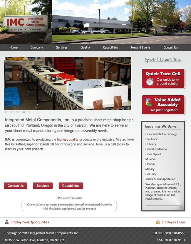 Integrated Metal Components Website Design