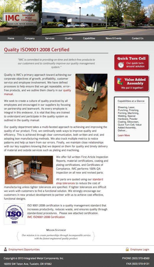 Integrated Metal Components Website Design