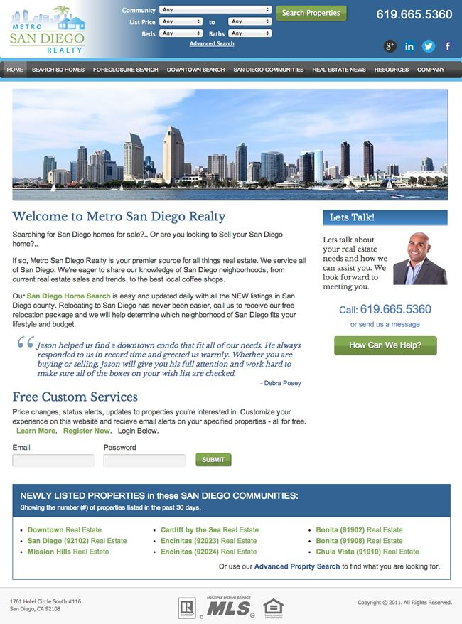 Metro San Diego Realty Website Design