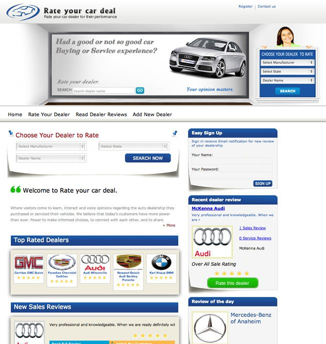 Rate Your Car Deal Website