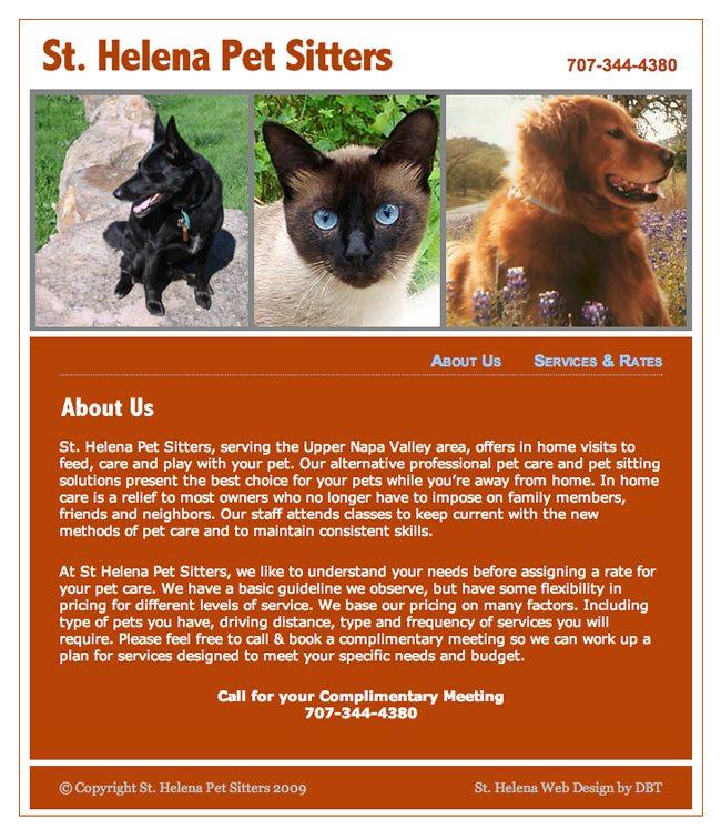 St Helena Pet Sitters Website Design