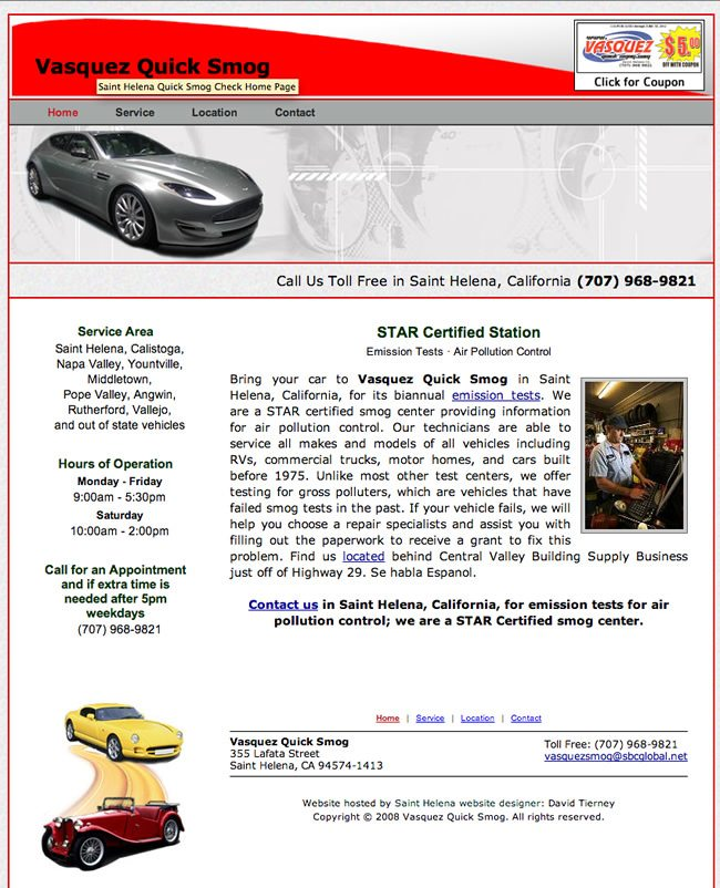 Vasquez Quick Smog Website Design