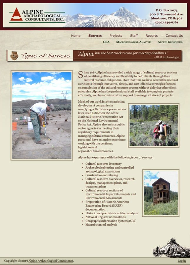 Alpine Archaeological Consultants Website