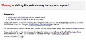 Malicious code google warning