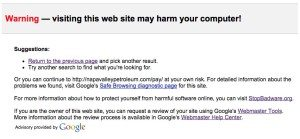 Malicious code google warning