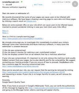 malware google email